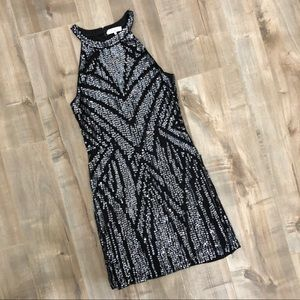 Parker beaded sequin embellished halter dress